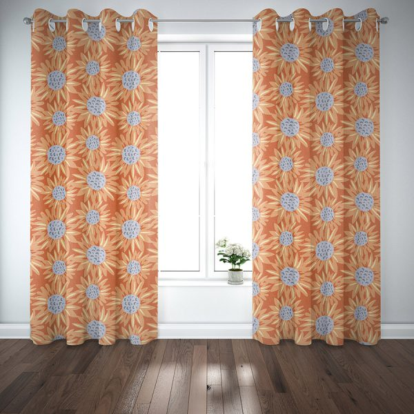 Floral Sunflower Pattern P768 on Curtains