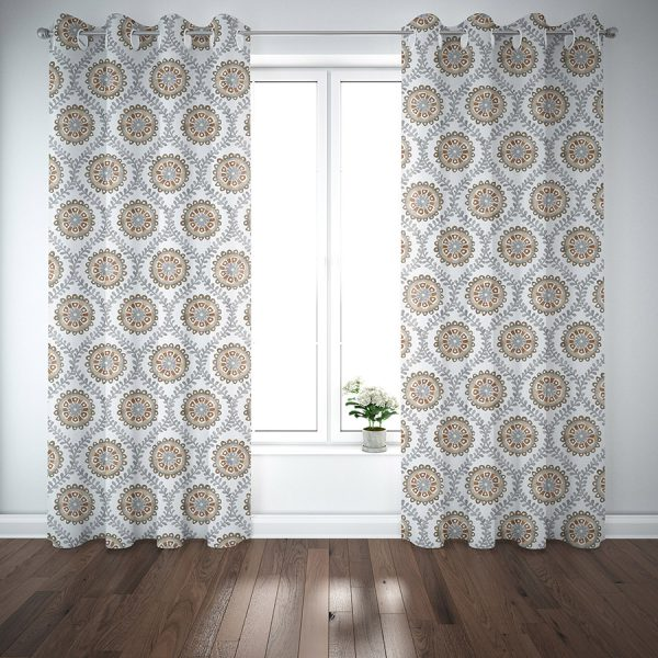 Ogee Floral Pattern P942 on Curtains