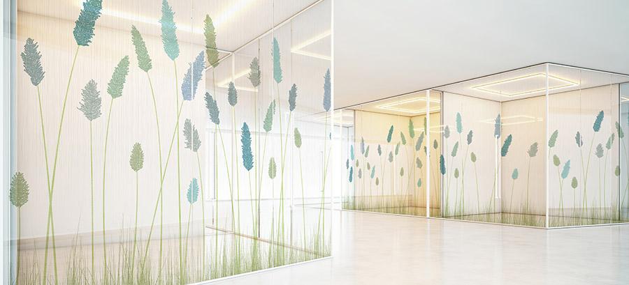 Landscape Pattern P1142 on Hospital Glass