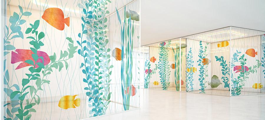 Landscape Pattern P1143 on Hospital Glass