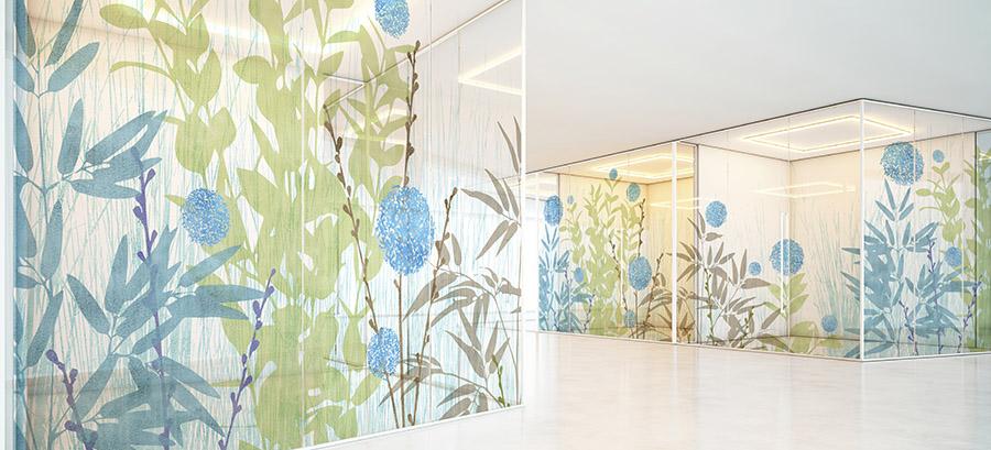 Landscape Pattern P1113 on Hospital Glass