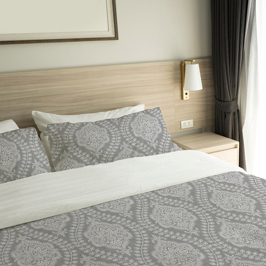 Gray Ogee Indian Lace Pattern P786 on Hotel Bed