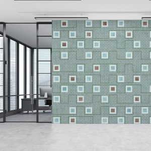 Geometric Squares Pattern P320 in Aqua Color on Office Wall