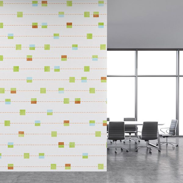 Stitched Stripe with Squares Pattern P319 on Office Wall