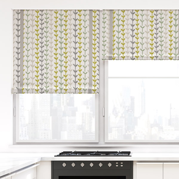 Design Pool Stripe Organic Leaves Pattern P935 on Interior Ink Solar Shades in a kitchen