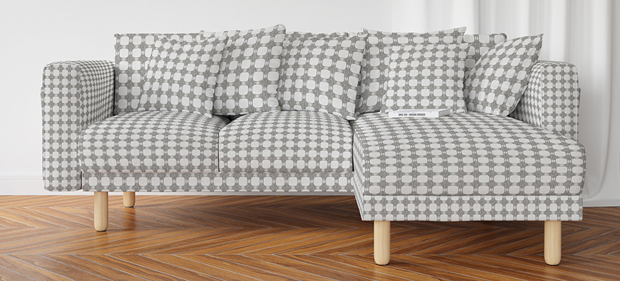 Gray Textured Plaid Pattern P3 on Sofa