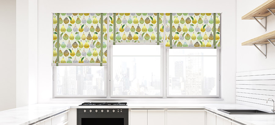 Watercolor Pears Pattern P952 on Kitchen Shades