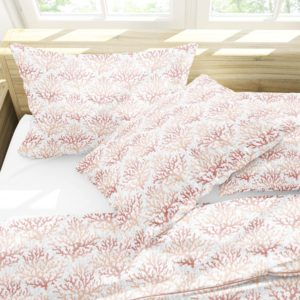 Coral Vector Pattern P1079 in Coral on Bedding for Home or Hotel