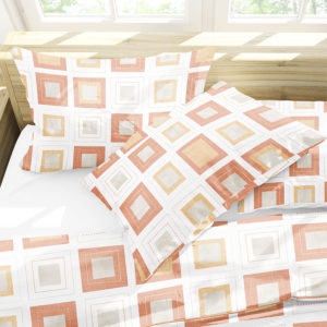 Geometric Retro Squares Pattern P322 in Orange on Bedding Sheets and Pillows