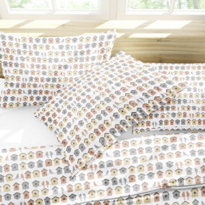 Birds on a Wire Pattern P16 in Orange on Bedding for Pillows and Sheets