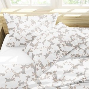 Modern Floral Outline Pattern P40 in Gray on Bedding