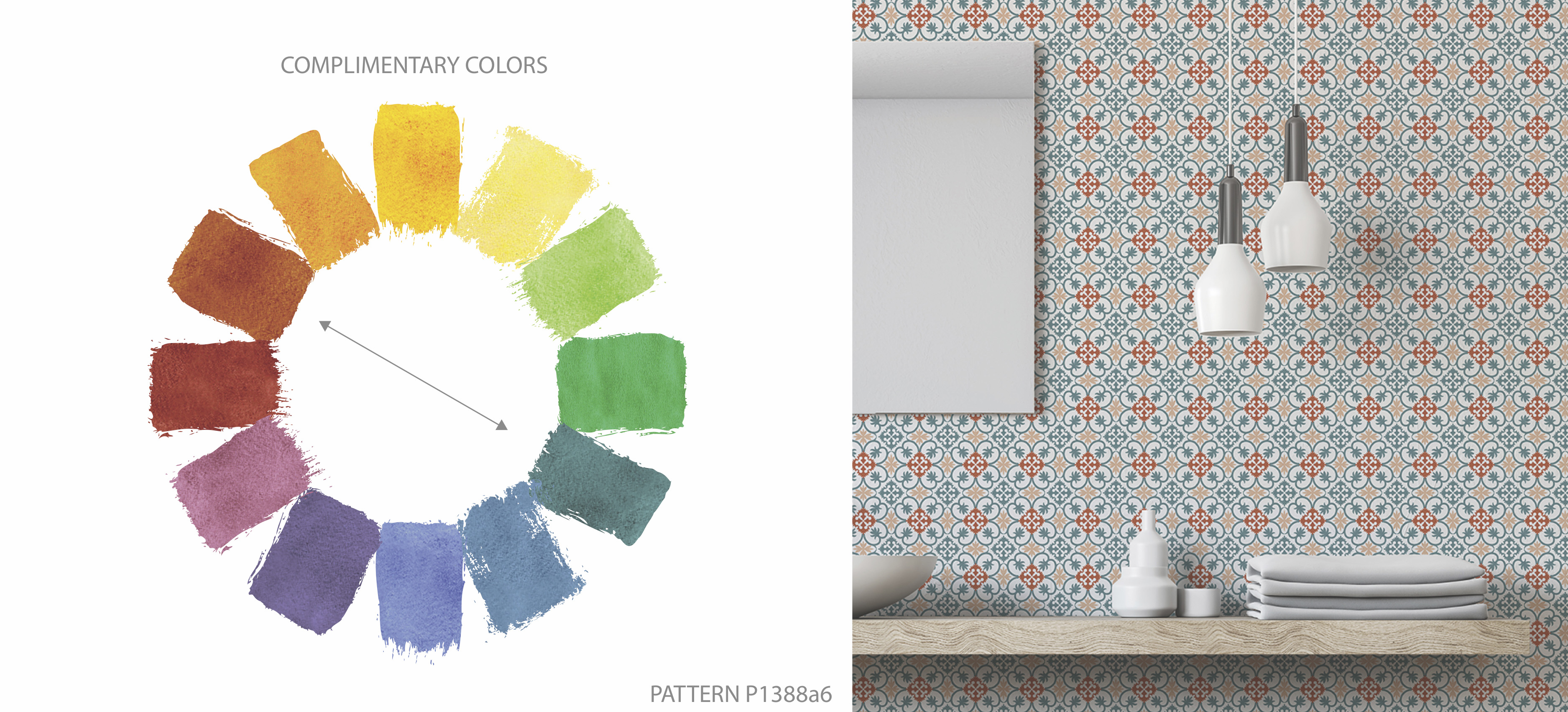 Color Wheel Complimentary Colors Pattern P1388 Tile