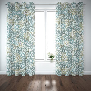 Floral Lace with Leaves Pattern P389 in Aqua on Curtains
