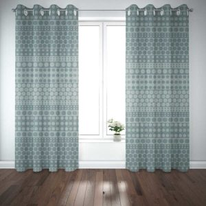 Polka Dot Stripes Pattern P39 in Teal on Curtains for Home or Hotel