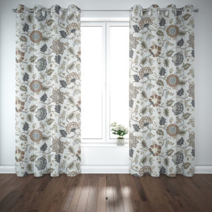 Floral Tapestry Vector Pattern P1201 in Brown on Curtains for Home or Hotel
