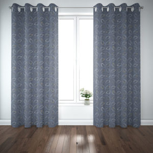 Semi Circle with Leaves Pattern P329 in Blue in Curtains