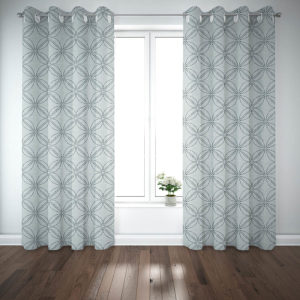 Stitch Overlay Pattern P61 in Aqua on Curtains for Home or Hotel