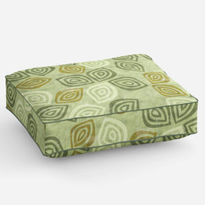 Stylized Tossed Leaves Pattern P1038 in Green on Cushion