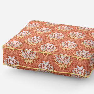 Damask Pattern P591 in Orange on Cushion