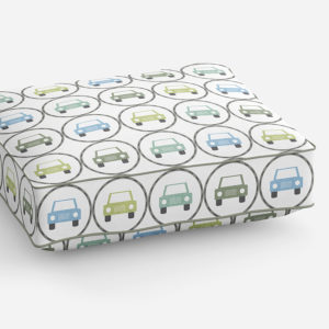 Stacked Cars Pattern P62 in Blue and Green on Cushion for Sofa or Chair
