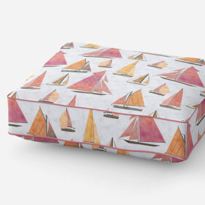 Watercolor Sailboats Vector Pattern P953 in Pink on Cushion for Sofa or Chair