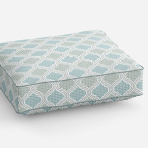 Buffalo Check Ogee Pattern P1358 in Teal Color on a Sofa Cushion