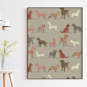 Dogs Vector Pattern P951 in Pink and Red in Picture Frame