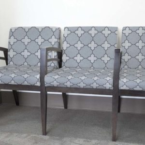 Double Quatrefoil Pattern P20 in Blue Upholstered on Reception Seating Chairs