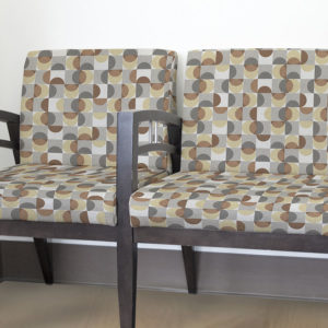 Semi Circle in Squares Pattern P222 in Brown on Upholstery for Reception Seating