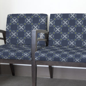 Check Flower Pattern P2a in Navy Printed on Upholstery Fabric in a Healthcare Setting