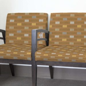 Dash Pattern P34 in Gold on Upholstery for Reception Seating