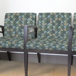 Geometric Semi Circles Vector Pattern P569 in Teal on Chairs for Hospital Reception Seating