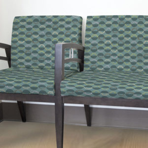 Semi Circle with Arcs Pattern P69 in Teal on Upholstery for Reception Seating