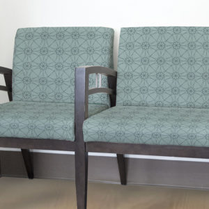 Hypotrochoid Pattern P71 in Aqua for Upholstery on Reception Seating