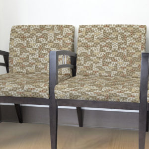 Geometric Jacks Pattern P300 in Brown upholstered on chairs for reception seating