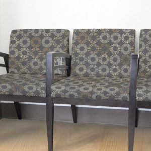 Circle Floral Pattern P294 in Gray upholstered on chairs for reception seating
