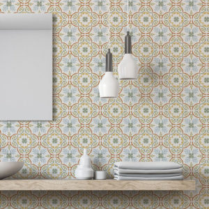 Lisbon Tile Vector Pattern P1384 in Orange on Wallcovering for Kitchen or Bathroom