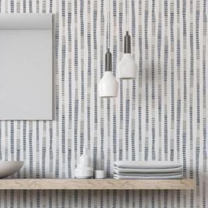 Tribal Stripe Pattern P276 in Gray on Wallpaper for Hotel or Restaurant
