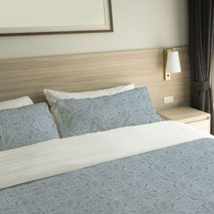 Intricate Lace Pattern P167 in Blue on Bedding for Hotel or Home