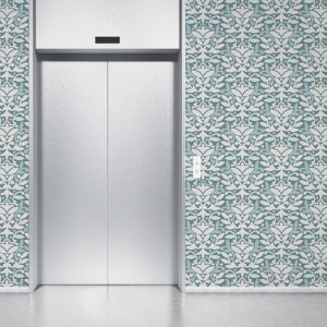 Damask Pattern P376 in Aqua on Wallpaper for Hotel Lobby and Offices