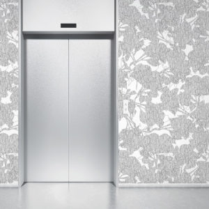 Modern Floral Overlay Pattern P41 in Gray on Wallpaper for Home or Hotel
