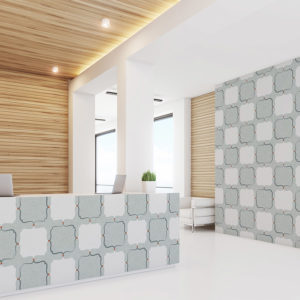 Modern Plaid Pattern P27 in Aqua as Wallpaper for Hotel Lobby and Front Desk
