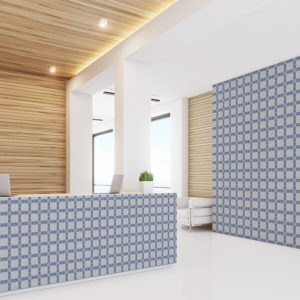 Modern Plaid Pattern 28 in Blue on Wallpaper for Hotel Lobby and Front Desk