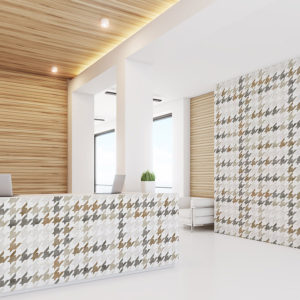 Plaid Houndstooth Pattern P456 in Brown on Wallpaper for Hotel Lobby and Restaurant