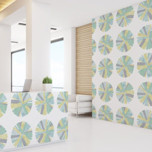 Pinwheels Pattern P68 in Aqua on Wallpaper for Hotel or Home