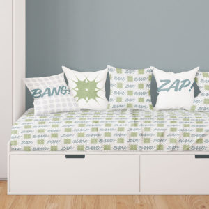 Comic Book Pattern P63 in Green on Kids Bedding