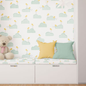 Birds on Clouds Pattern P215 in Aqua on Kid Bedding and Wallpaper