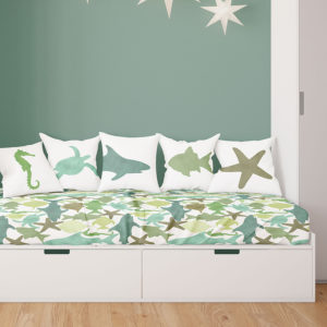 Watercolor Sea Life Pattern P530 in Teal Color on Kids Bedding