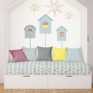 Bird in a Birdhouse Pattern P15 in Aqua on Bedding and Wall Mural