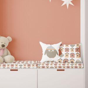 Little Birdie Pattern P14 in Orange on Bedding and Pillows